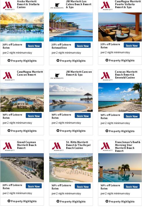 マリオットホテルはカリブ&ラテンアメリカを対象に最大30%OFF