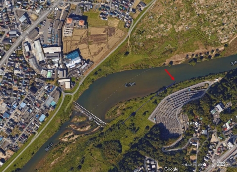 GoogleMap八ヶ村用水取水口位置を推定