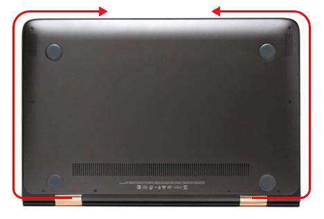 HP Spectre 13-4100 x360_カバーの側面を浮かせる