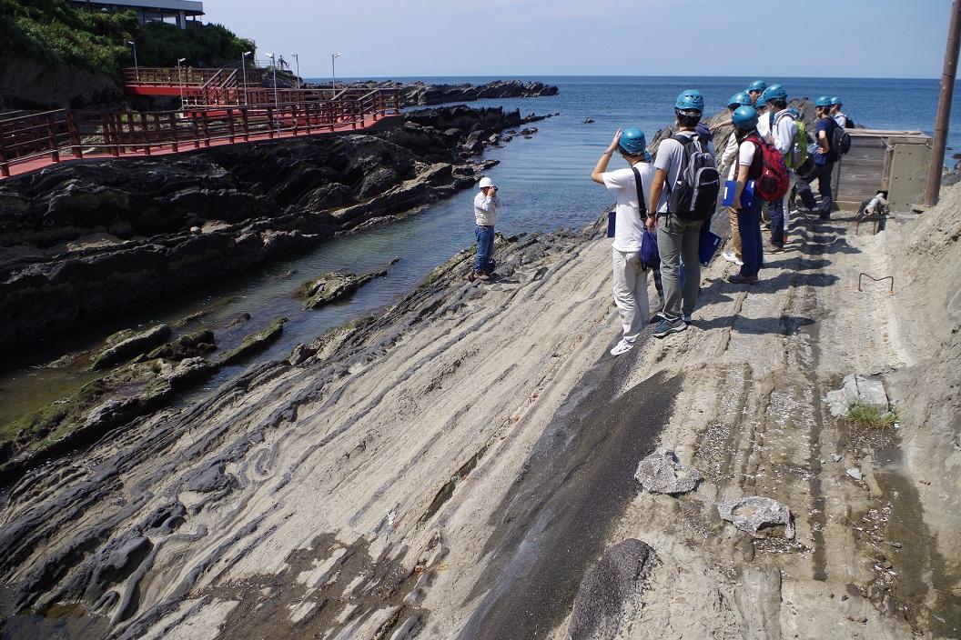 神奈川県三浦 城ヶ島 地層観察 スランプ構造 海底地すべり 地震 断層 活断層