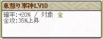 スキルLv10 軍神