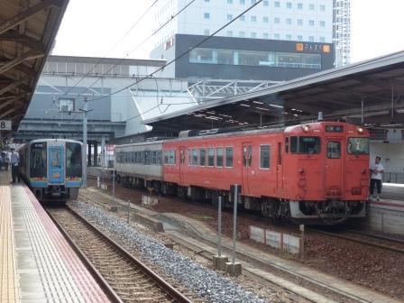 JR岡山駅ホームにて