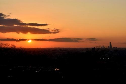 ①冬至の夕陽夕焼け