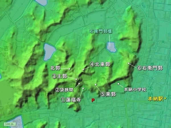 本納城地形図