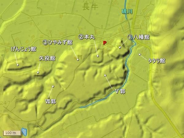 長牛城地形図
