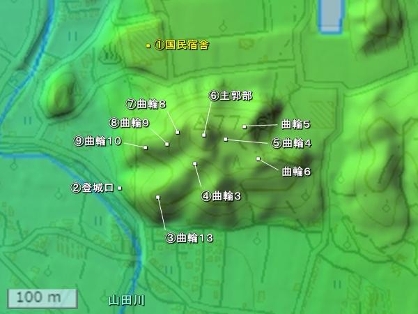 湯浅城地形図