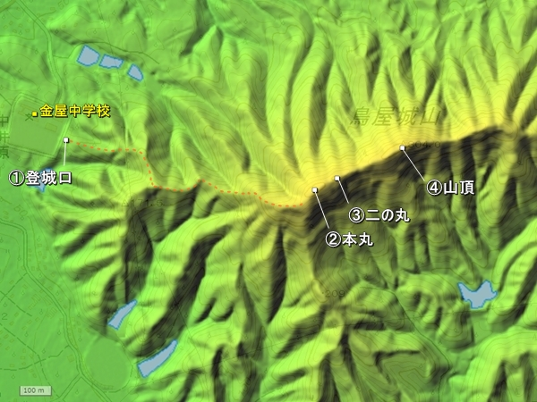 鳥屋城地形図