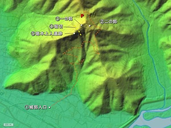 岩室城地形図
