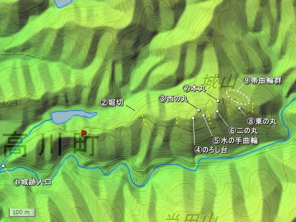 手取城地形図