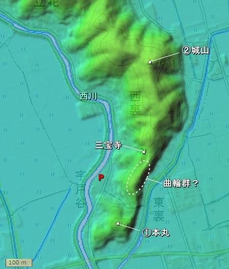 入山城地形図