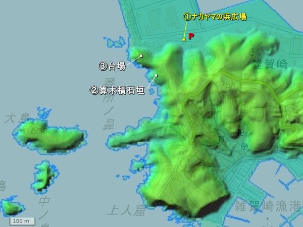 雑賀崎台場地形図