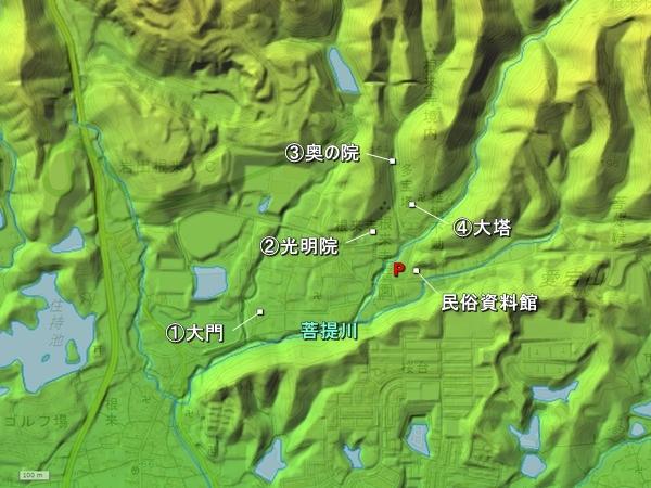 根来寺地形図