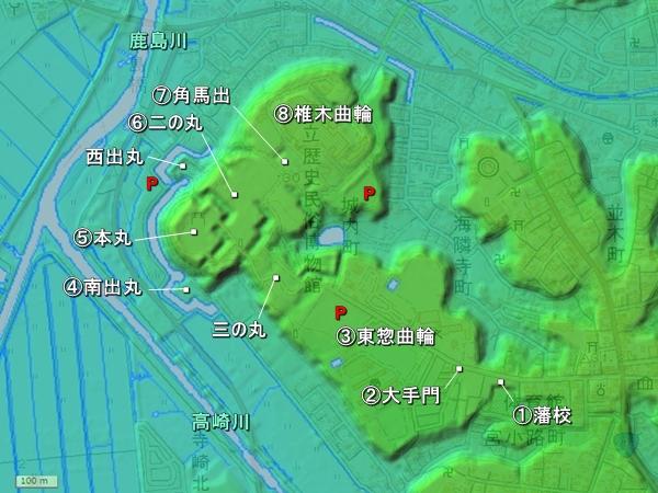 佐倉城地形図