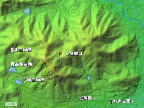 鴨山城地形図