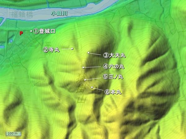 猿掛城地形図