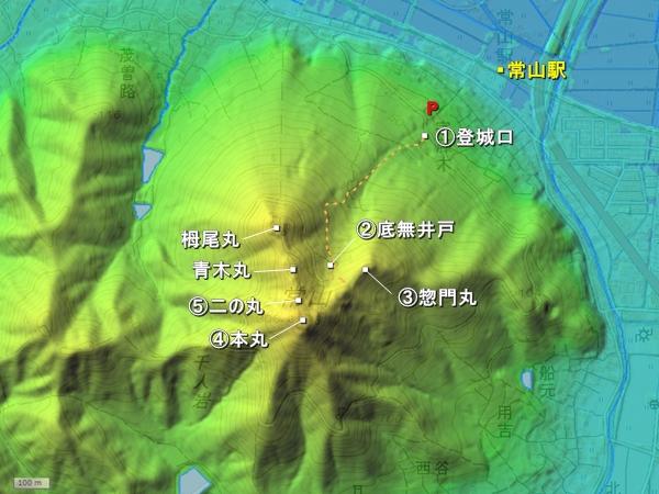 常山城地形図