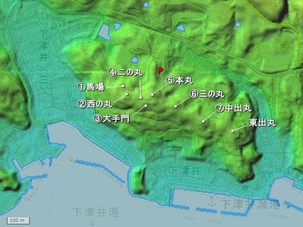 下津井城地形図