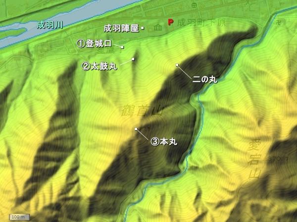 鶴首城地形図