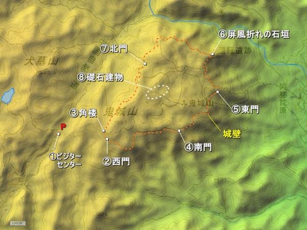鬼ノ城地形図