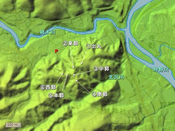 狩野城地形図