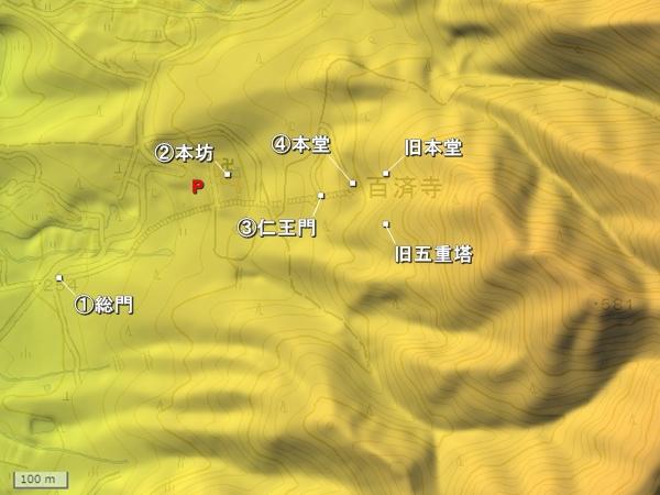 百済寺城地形図