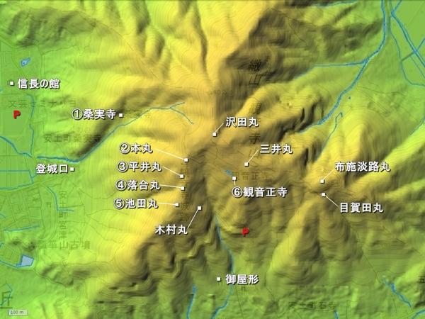 観音寺城地形図