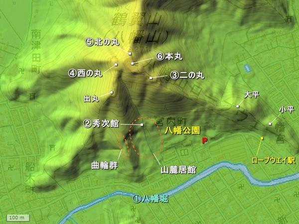 八幡山城地形図