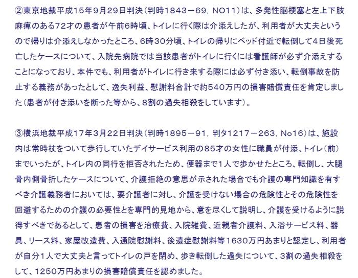 東京地裁H15年9月29日転倒&横浜地裁H17年3月22日転倒