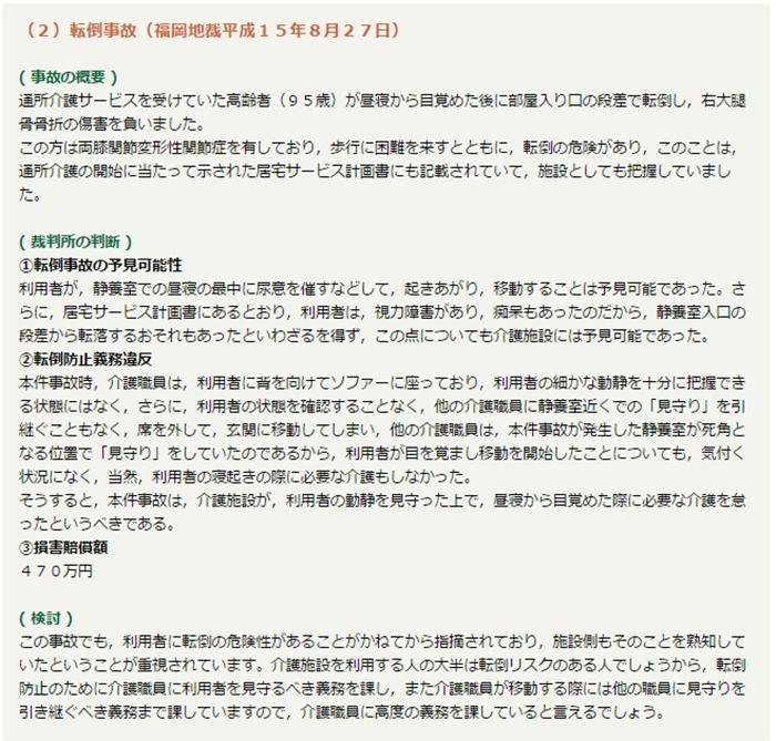 福岡地裁H15年8月27日転倒