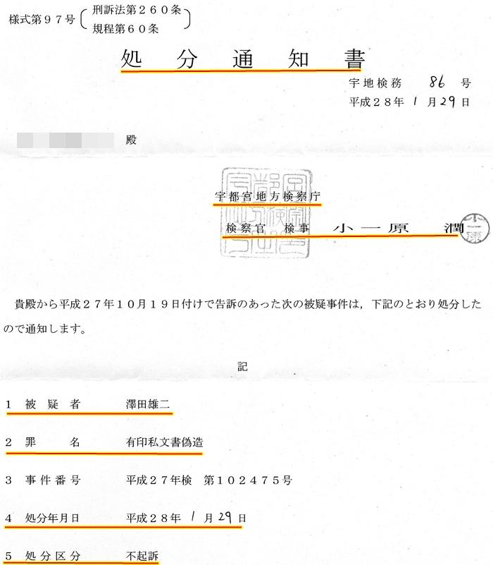 小一原潤 検事 宇都宮地方検察庁検察官 澤田雄二弁護士 宇都宮中央法律事務所