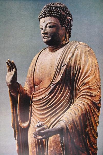 元興寺薬師如来像~彫り口が鋭い(カヤ材)