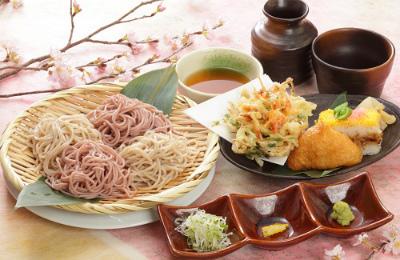 春の二味そばかき揚げ寿司セット