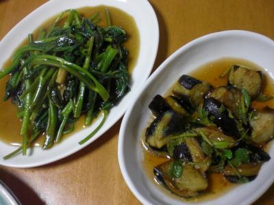 空芯菜炒め・揚げナスのサラダ