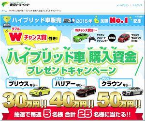 懸賞_ハイブリット車 購入資金プレゼントキャンペーン_東京トヨペット