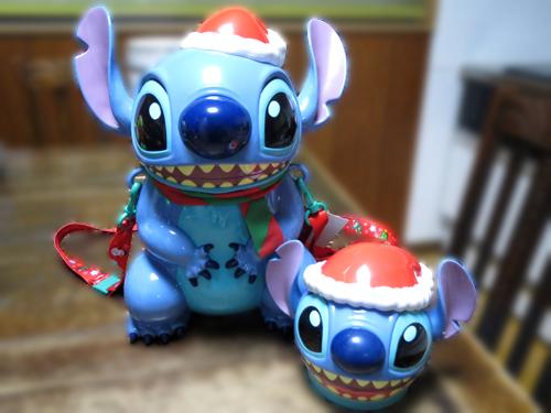 2015年 ディズニーランド スティッチのクリスマス限定ポップコーンバケットやスーベニアケース