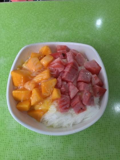 すいかとマンゴーのかき氷