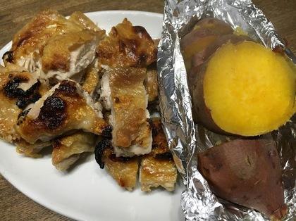鶏ももの塩焼きと安納芋