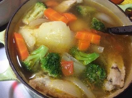 残っていた手羽中でスープ