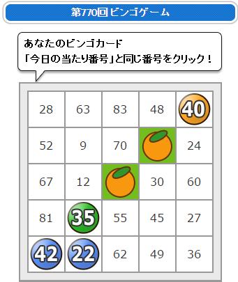 フルーツメール ビンゴ