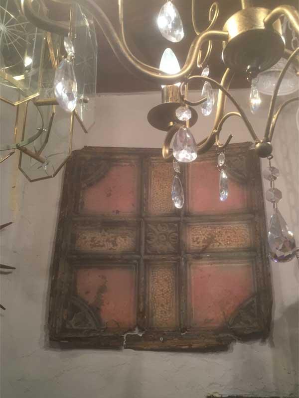 アンティーク 19世紀後半、1800年代後半 ヨーロッパのテキスタイル柄のブリキの看板、ウォールデコ