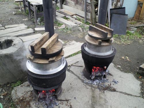 羽釜でご飯を炊く(27.11.17)