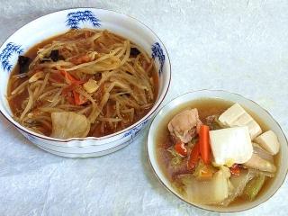 151103_3569ピリ辛もやし炒め・豆腐と鶏肉の煮物VGA