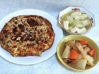 151127_3626オイスターと胡麻風味お好み焼き・水餃子・鶏団子と大根の煮物VGA