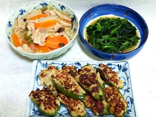 151201_3638八宝菜の中華丼・ほうれん草の甘辛ソテー・肉詰めピーマンVGA