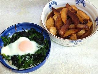 151204_3647鶏むね肉とポテトの赤味噌炒め・ほうれん草の胡麻風味ソテー目玉焼き乗せVGA