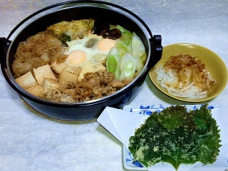 151215_3661すき焼き・大根サラダ・大葉の天ぷらVGA