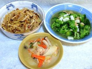 160209_3754エリンギとじゃが芋のきんぴら・ブロッコリーとシーフードのとろとろ煮・白菜と鶏もも肉のクリーム煮VGA