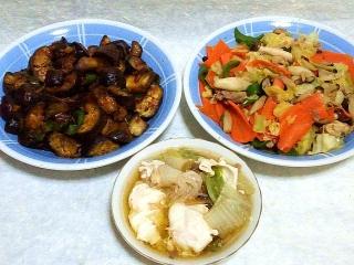 160223_3786なすの肉味噌炒め・野菜炒め・玉子のすき煮VGA