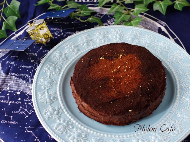 バレンタインの星空ケーキぎっしりチョコチップ