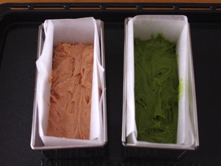 簡単パウンド生地でひなまつりの菱餅色ケーキ03